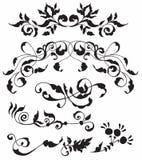 Sistema de elementos florales decorativos Imagen de archivo libre de regalías