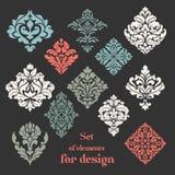 Sistema de los elementos florales ornamentales para el dise?o foto de archivo libre de regalías