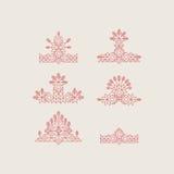 Sistema de los elementos gráficos del vintage para el diseño Línea Art Design para las invitaciones, carteles Elemento linear Est ilustración del vector
