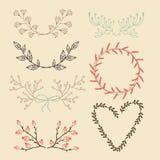 Sistema de los elementos gráficos florales, laureles Foto de archivo libre de regalías