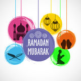 Sistema de los elementos islámicos para Ramadan Mubarak Imágenes de archivo libres de regalías