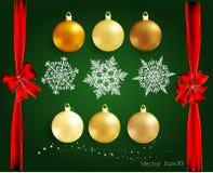 Sistema de los elementos de la Navidad y del Año Nuevo para la decoración Tarjeta de felicitación Imagenes de archivo