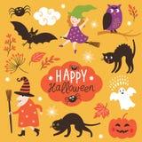 Sistema de los elementos lindos de Halloween del vector Imagen de archivo
