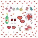 Sistema de los elementos para el día de tarjetas del día de San Valentín del St. Imagenes de archivo