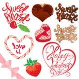 Sistema de los elementos para el diseño del día de tarjetas del día de San Valentín Imagen de archivo