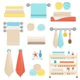 Sistema de los elementos para el diseño de las toallas del cuarto de baño, de estantes con los cepillos y de higiene Ilustración  ilustración del vector