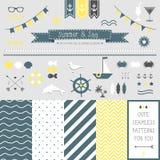 Sistema de los elementos para el diseño. Mar y verano. Imagen de archivo