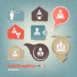 Sistema de los elementos para el infographics en el papel de la forma Foto de archivo