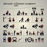 Sistema de los elementos para el infographics sobre la inmigración/refugiados ilustración del vector