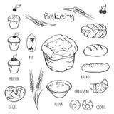 Sistema de los elementos para la panadería Fotografía de archivo