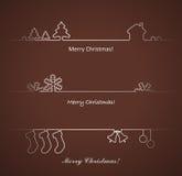 Sistema de los elementos para las tarjetas de Navidad. Fotos de archivo