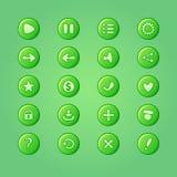 Sistema de los elementos verdes claros móviles del vector para el diseño de juego de UI Foto de archivo