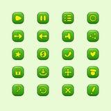 Sistema de los elementos verdes móviles del vector para el diseño de juego de UI Foto de archivo