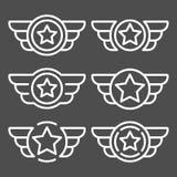 Sistema de los emblemas blancos del vector con las alas ilustración del vector
