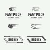 Sistema de los emblemas del hockey del vintage, logotipos, insignias, etiquetas stock de ilustración