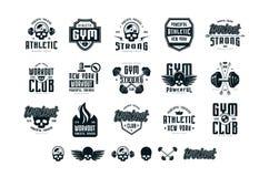 Sistema de los emblemas y del logotipo para el gimnasio, entrenamiento, club atlético stock de ilustración
