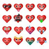 Sistema de los emoticons del corazón, caras del smiley del emoji ilustración del vector