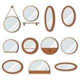 Sistema de los espejos de los marcos de madera del vector de forma redonda libre illustration