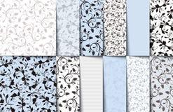 Sistema de los estampados de flores inconsútiles del azul, blancos y grises Ilustración del vector Foto de archivo libre de regalías