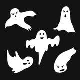 Sistema de los fantasmas de Halloween para el diseño aislados en fondo Fotografía de archivo libre de regalías