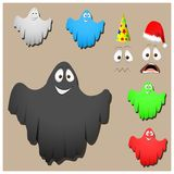 Sistema de los fantasmas lindos de Halloween Foto de archivo libre de regalías