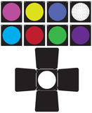 Sistema de los filtros de color para el equipo del estudio Foto de archivo libre de regalías