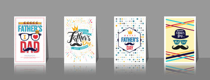 Sistema de los folletos, del cartel o de la bandera del día del ` s del padre en estilo del vintage Fotografía de archivo