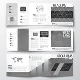 Sistema de los folletos triples, plantillas cuadradas del diseño Fondo del microchip, circuitos eléctricos, construcción abstract Fotos de archivo libres de regalías