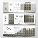 Sistema de los folletos triples, plantillas cuadradas del diseño Modelo islámico del oro con el traslapo de la formación geométri Imagen de archivo