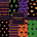 Sistema de los fondos de Halloween Colección de modelos inconsútiles adentro ilustración del vector