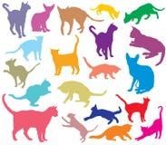 Sistema de los gatos coloridos silhouettes-2 stock de ilustración