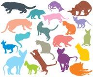 Sistema de los gatos coloridos silhouettes-3 ilustración del vector