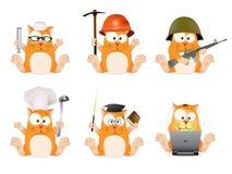 Sistema de los gatos de diversas profesiones Imágenes de archivo libres de regalías
