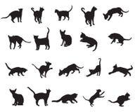 Sistema de los gatos silhouettes-2 ilustración del vector