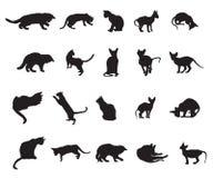 Sistema de los gatos silhouettes-3 stock de ilustración