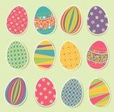 Sistema de los huevos de Pascua Foto de archivo libre de regalías
