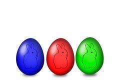 Sistema de los huevos de Pascua coloreados en un fondo blanco Fotografía de archivo libre de regalías