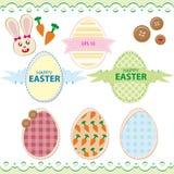 Sistema de los huevos de Pascua con el conejito de pascua Ilustración del Vector