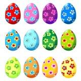 Sistema de los huevos de Pascua con el estampado de flores Fotografía de archivo