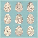 Sistema de los huevos de Pascua decorativos Fotografía de archivo libre de regalías