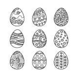 Sistema de los huevos de Pascua dibujados mano del garabato Foto de archivo