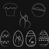 Sistema de los huevos de Pascua en colores oscuros stock de ilustración