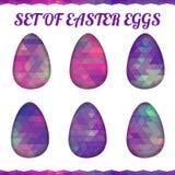 Sistema de los huevos de Pascua poligonales del triángulo colorido Foto de archivo libre de regalías