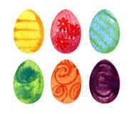 Sistema de los huevos de Pascua, ejemplo de la acuarela Fotografía de archivo libre de regalías