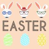 Sistema de los huevos y de conejo de Pascua Imágenes de archivo libres de regalías