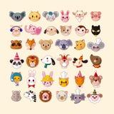 Sistema de los iconos animales de la cara Imagen de archivo libre de regalías