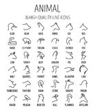 Sistema de los iconos animales en la línea estilo fina moderna Foto de archivo