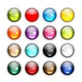 Sistema de los iconos brillantes del botón para su diseño stock de ilustración