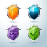 Sistema de los iconos casa-formados del escudo que ilustran peligro Imagenes de archivo