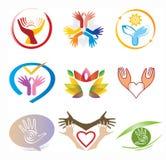 Sistema de los iconos/colección Logo Elements decorativo de las manos Fotografía de archivo